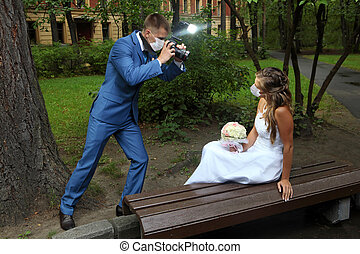 マスク, 花婿, 花嫁, 作りなさい, covid-19, photos., の間