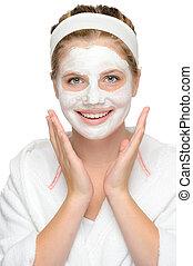 マスク, 若い, 顔, 化粧品, 微笑の女の子, 幸せ