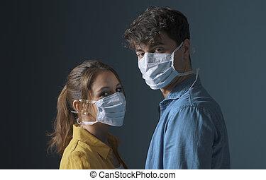 マスク, 身に着けていること, 保護である, millennials