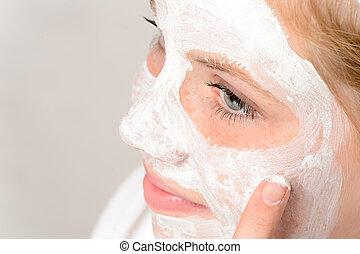 マスク, 顔, 朗らかである, ティーネージャー, 使うこと, 女の子, 清掃