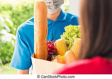 マスク, 食料雑貨, 寄付, 食物, ウエア, 保護である, 新鮮な表面, 出産, 作成, 男の女性, 顧客
