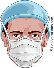 マスク, ppe, 顔, 医者, 保護である, 身に着けていること