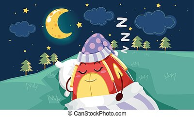 マスコット, テント, 睡眠, 星, 下に