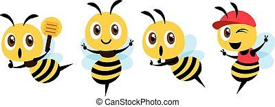 マスコット, 印, cap., design., イラスト, ひしゃく, ベクトル, かわいい, 平ら, 身に着けていること, 蜂, 蜂蜜, セット, 提示, 漫画, 勝利, 隔離された, 保有物