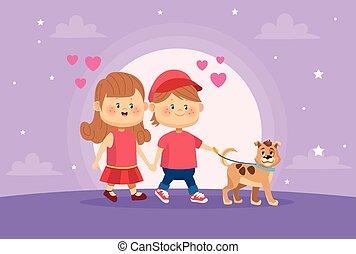 マスコット, 子供, わずかしか, 犬, 恋人, かわいい