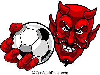 マスコット, 悪魔, 漫画, ボール, フットボール, スポーツ, サッカー