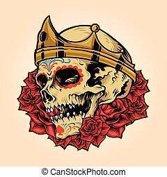 マスコット, 王冠, 頭骨, ロゴ, 王, 皇族, ベクトル, イラスト, バラ