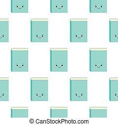 マスコット, 白, ベクトル, 特徴, スタイル, イラスト, seamless, 漫画, パターン, かわいい, 背景, 本, kawaii