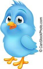 マスコット, bluebird, 赤ん坊の鳥, 漫画, 青