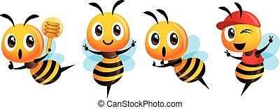マスコット, set., 印, 提示, ひしゃく, 帽子, かわいい, 身に着けていること, 蜂, 蜂蜜, ベクトル, 特徴, 勝利, 保有物, 漫画, -