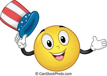 マスコット, smiley, アメリカ人, 帽子, イラスト
