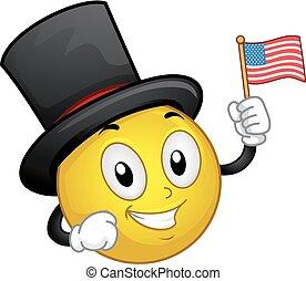 マスコット, smiley, アメリカ人, 帽子, 旗, イラスト