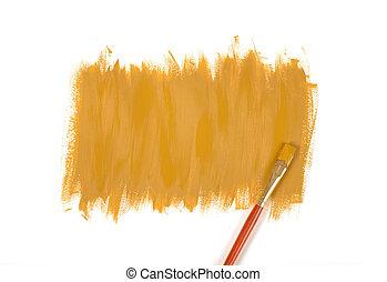マスタード, 色, 塗料, ペンキ ブラシ, 手 - ペイントされた