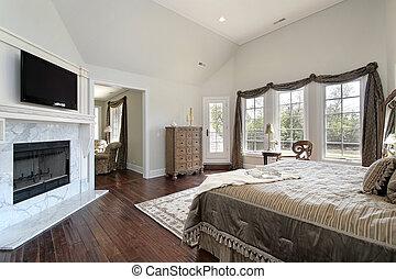 マスター, 寝室, ∥で∥, 大理石, 暖炉