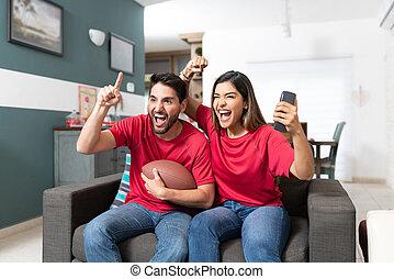 マッチ, 家, フットボール, 幸せ, 監視, 恋人