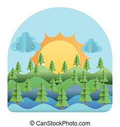 マツ, 山, 風景, 木, 太陽