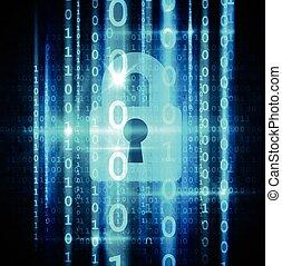 マトリックス, concept., streaming., cyber, ナンキン錠, 鍵穴, セキュリティー