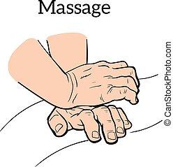 マニュアル, 医学, 療法, massage., 治療上