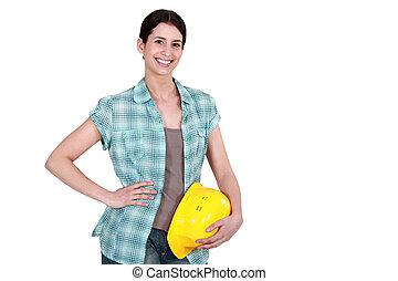 マニュアル, 女性, worker.