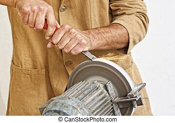 マニュアル, 道具, 彼の, 労働者, シャープ