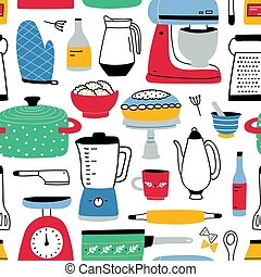 マニュアル, 電気である, カラフルである, パターン, paper., 料理, utensils., seamless, イラスト, 手, 織物, バックグラウンド。, ベクトル, 包むこと, 引かれる, 家, 白, 道具, 印刷, 背景, 台所