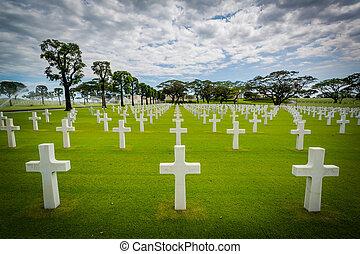 マニラ, 地下鉄, フィリピン。, アメリカ人, 墓地, &, マニラ, 記念, taguig, 墓
