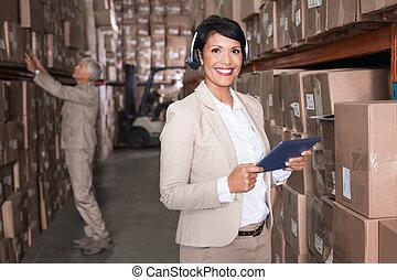 マネージャー, かなり, 使うこと, タブレットの pc, 倉庫