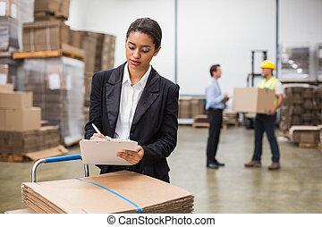 マネージャー, かなり, 執筆, クリップボード, 倉庫