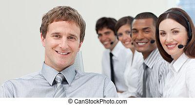 マネージャー, カメラ, チーム, 微笑, 彼の