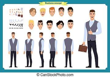マネージャー, ビジネス, 様々, 感情, gestures., 光景, 顔, 背中, fashion., 偶然, 光景...