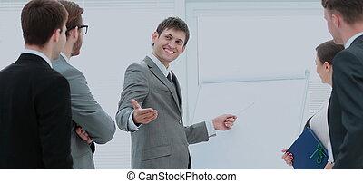 マネージャー, 作り, プロジェクト, プレゼンテーション, 従業員, 新しい