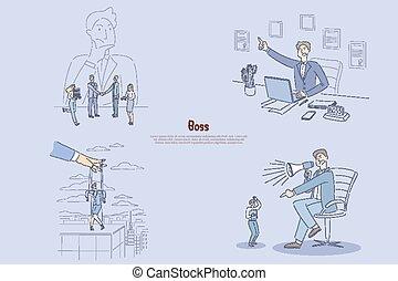 マネージャー, 叫ぶこと, 優秀, 彼の, オフィス, 人, 管理された, 従業員, モデル, 女性実業家, について, 手, 旗, 怒る, 労働者, 考え