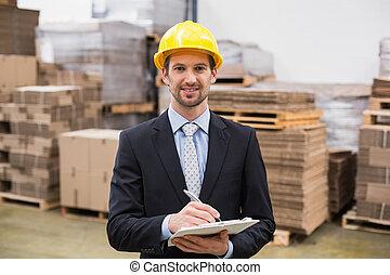 マネージャー, 執筆, 微笑, クリップボード, 倉庫