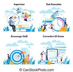 マネージャー, 専門家, 従業員, スーパーバイザー, ∥(彼・それ)ら∥, ガイドをする, concept.
