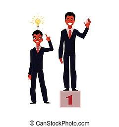 マネージャー, 成功, 考え, 目的を達する, アメリカ人, ビジネスマン, アフリカ, 黒, 持つ
