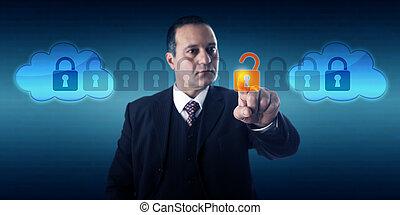 マネージャー, intercloud, データ, 錠を開けること, 交換