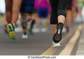 マラソン走者, 動くこと, 都市 道
