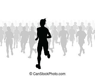 マラソン, ベクトル, ランナー, 背景