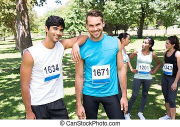 マラソン, 公園, ランナー, 幸せ