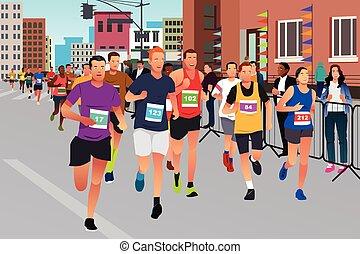 マラソン, 動くこと, ランナー, 競争