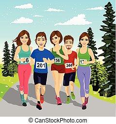 マラソン, 動くこと, ランナー, 若い, 競争