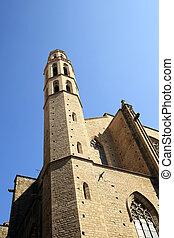 マリア, 傷つけなさい, ファサド, 教会, santa, del, バルセロナ, スペイン