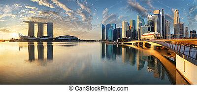 マリーナ, シンガポール, 日の出, 超高層ビル, パノラマ, 湾, -, スカイライン