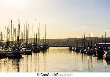 マリーナ, パノラマである, 港, denia, 光景