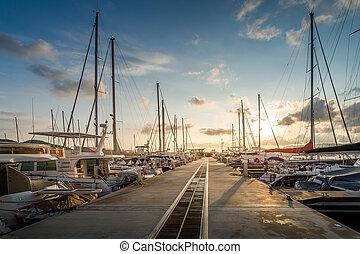 マリーナ, ヨット, 日の出