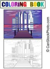 マリーナ, civilization., スケッチの 本, 漫画, 平ら, 色, coloring., 都市, 光景, ベクトル