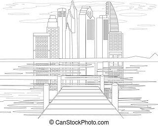 マリーナ, civilization., 漫画, 平ら, 本, 色, 都市, 光景, ベクトル, sketch.