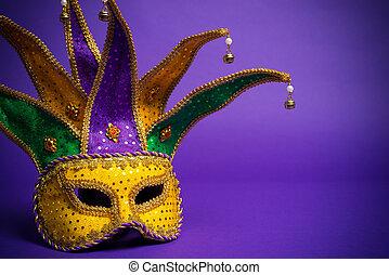 マルディグラ, ∥あるいは∥, carnivale, マスク, 上に, a, 紫色の背景