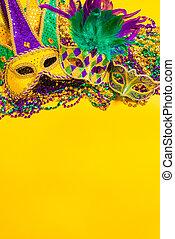 マルディグラ, マスク, 上に, 黄色の背景