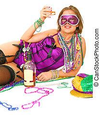 マルディグラ, 女の子, 保有物, アルコール